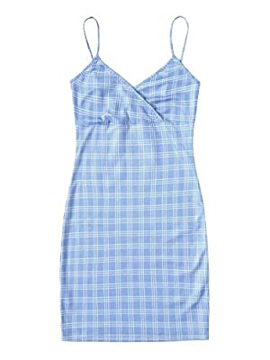 Fabric has stretch Features: plaid, v neck, plaid, bodycon, mini dress Occasion: spring/fall, going out, dating, vacation, hanging out, dating Machine wash cold gentle, with like colors, do not bleach. Please refer to Size Chart in Product Descriptio...