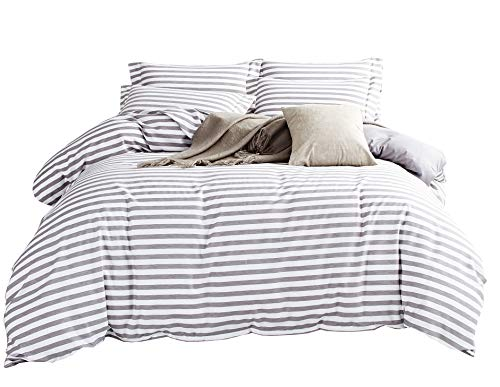 DelbouTree White Duvet Cover Set,Striped Duvet Covers,Contrast 2 Tone Reversible Comforter Cover,Twin Bedding Set,Zipper Closure,Twin Duvet Covers