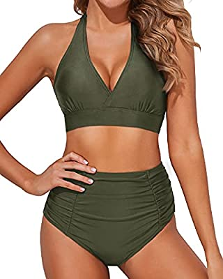 The army green bathing suit features removable soft bra paddings, halter self tie at neck and double buckles at back make it easier to wear. Tempt Me ruched high waisted bikini bottoms better hide your tummy and make you look slimming. Material of th...