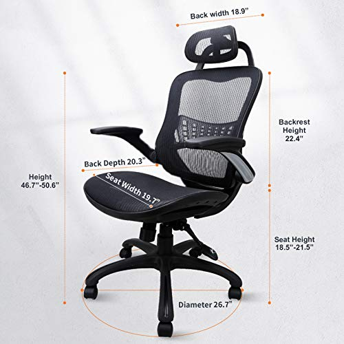Product Image 7: Komene Home Office Chair - Ergonomic Desk Chair high Back Mesh Computer Chair with Lumbar Support & with Headrest, Thick Seat Cushion Recline Chair Swivel Task Chair