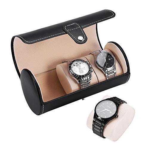 Porta rotolo da forma cilindro per orologi, espositore da polso, scatola regalo gioielli, 3 griglie e 2 colori(01)