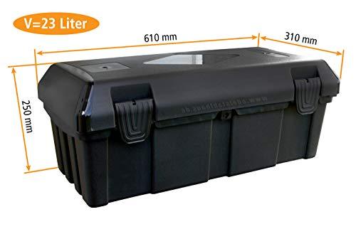 Deichselbox mit 2 Verschlüssen, Werkzeugkasten für Anhänger Staukiste ca. 30 ltr Anhängerbox, Daken B23-0