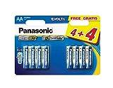 Panasonic PANLR6EGE4BLI Evolta AA/Lr6 AA Alkaline Battery (Pack of 8)