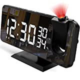 Projection Alarm Clock for Bedroom, 7.4' Large Mirror LED Display Ceiling Digital Alarm Clock Radio with USB Charger Ports, Auto Dimmer Mode, Easy Snooze, Dual Loud Smart Clock for Heavy Sleepers
