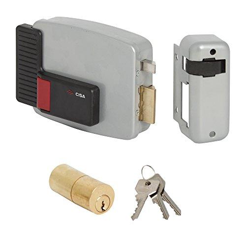 Cisa 11520-10 Serratura Elettrica per Cancello 11611, Entrata Destra, 50 mm, 12 V, Verniciato Grigio Alluminio
