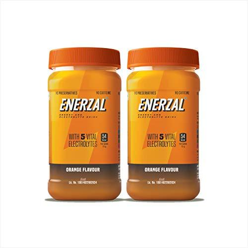 Enerzal Energy Drink Powder Orange Flavour (Pet Jar) 500g Pack of 2