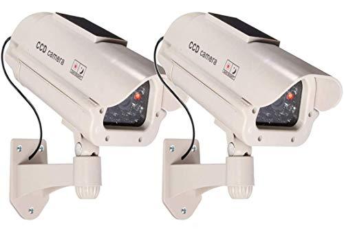 2 grandi telecamere di sorveglianza finte, a energia solare, per esterni, con obiettivo e funzione lampeggiante, per videosorveglianza