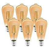 Etrogo LED Edison Bombillas Vintage E27 con Filamento 4W Equivalente a 40W 400LM luz Cálido...