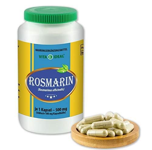 VITAIDEAL ® Rosmarin (Rosmarinus officinalis) 180 Kapseln je 500mg, aus rein natürlichen Kräutern, ohne Zusatzstoffe von NEZ-Diskounter