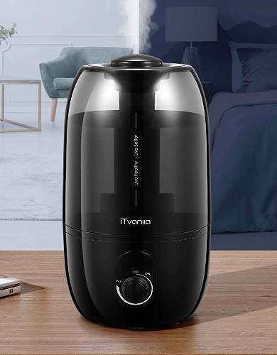 iTvanila Humidifiers, Cool Mist Humidifier for Bedroom, 2.7 L/0.7 Gal Baby Humidifier with Adjustable Output, Lasts to 30 Hours, Whisper-Quiet, Auto Off, Filterless Humidifier for Home Office Nursery