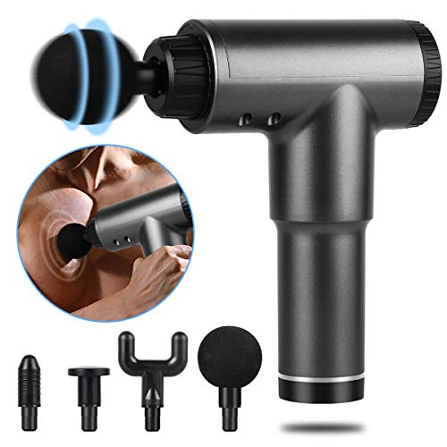 Electric Handheld Massager,Sucastle Fascial Gun,Deep Tissue Portable Massager,Quiet Muscle Percussion Massager,Cordless Professional Body Muscle Massage Gun with Relieving Muscle Soreness,Dark Gray