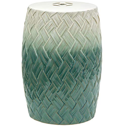 "Oriental Furniture 18"" Carved Woven Design Porcelain Garden Stool"