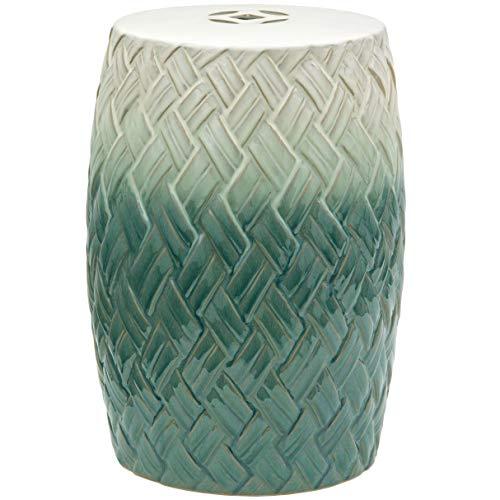 """Oriental Furniture 18"""" Carved Woven Design Porcelain Garden Stool"""