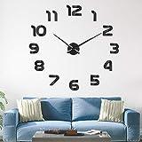 SOLEDI Horloge Murale Muette Pendule Murale de Mode Moderne Horloge Murale sans Cadre 3D Miroir Autocollant Bureau Hôtel Décoration de La Maison DIY Horloge Murale (Couleur Argent et Noir)