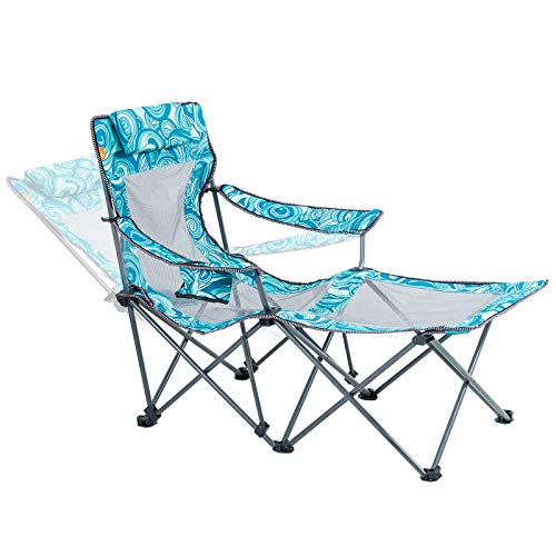 Camping Portable Chair with Footrest Mesh Folding Reclining Chair for Adults 300lbs Blue