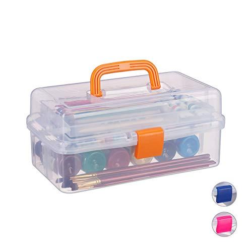 Relaxdays Estuche de plástico, Organizador con Nueve Compartimentos, Asas, Cierre Click, Naranja, 14 x 33 x 19 cm, 14 x 33 x 19.5 cm