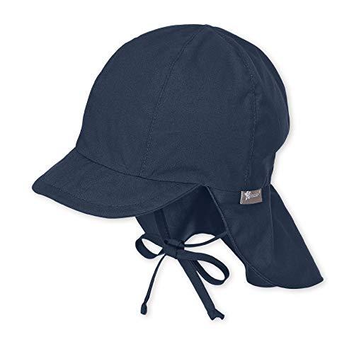 Sterntaler Unisex Schirmmütze mit Nackenschutz und Bindebändern, Alter: 12-18 Monate, Größe: 49, Blau (Marine)