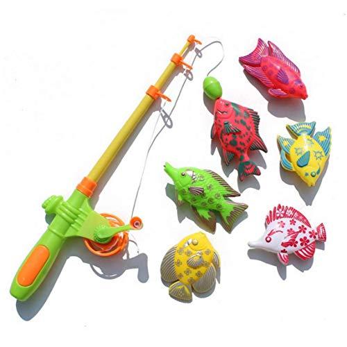 7PCS divertente e simpatico Pesca Bagno giocattoli magnetici di pesca del gioco dei giocattoli per i bambini Set Tabella di acqua di vasca da bagno per bambini festa in piscina con Canna Net