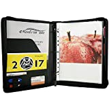 Freeprint Zippered Portfolio Binder 3 Ring with Writing Pad Legal Size Letter - PU Leather Professional Padfolio Folder for Interview Business, Black