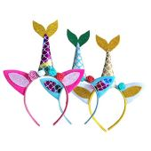 Amosfun 3 pçs faixa de cabelo de tiara com cauda de sereia de unicórnio e orelhas de gato tiara com flores fantasia de sereia presentes de aniversário temáticos de sereia (vermelho/amarelo/azul)