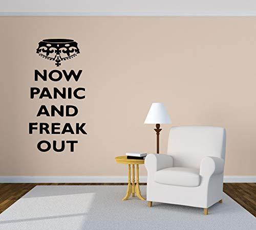 Now Panic And Freak Out Crown Quote Phrase Wall Vinyl Sticker Car Mural Decal Art Decor LP4011