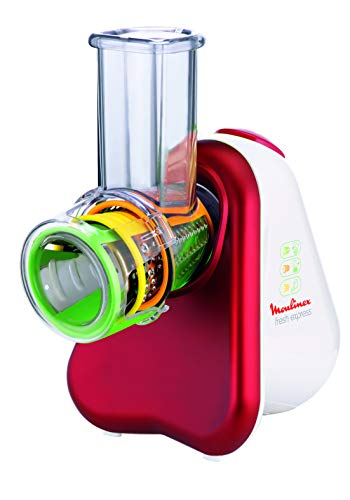 Moulinex DJ7535 Fresh Express 3 in 1 Elektrisches Schnitzelwerk / Gemüseschneider / Gemüsehobel | 200W | 3 Einsätze | Made In France | Rot/ Weiß