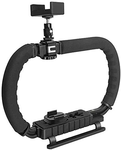 Stabilizzatore manuale per videocamera con scarpa di accessori pieghevole DC + DV 2 maniglie Video Rig Steadycam Stabilizer, per tutte le Action Camera Gopro, Camcorder, DSLR, iPhone ecc