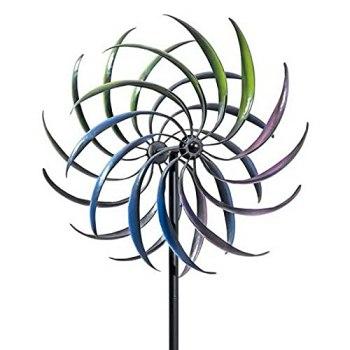 Moulin À Vent Double Couche, Eolienne De Jardin, Moulin A Vent Jardin Exterieur Iron Windmill, Willow Leaves Windmill pour Jardin, Terrasse, Pelouse