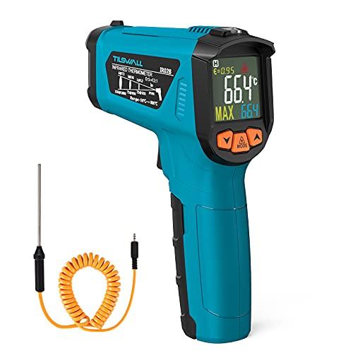 Tilswall Thermomètre Infrarouge,Pistolet de Température Sans Contact Laser 58~1472℉(-50~800℃) Emissivité Réglable Thermomètre Pistolet cuisine/Circuit/ industrie (pas pour l'homme)
