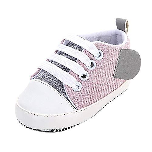 DIELUNY Bebé Unisex niña niño Zapatos Coser Zapatos de Lona Princesa otoño Elegante Moda Linda Cuna Primeros Caminantes Casual Suela Suave para niños