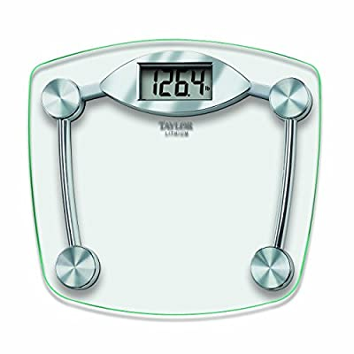 """13""""X11. 75"""" Digital Bathroom scale features an easy to read 1. 2"""" Lcd display 400Lb(180 kg) capacity weighing in 0. 2lb increments Constructed with a high tempered clear glass scale platform and high quality chrome finish base Includes instant on, au..."""