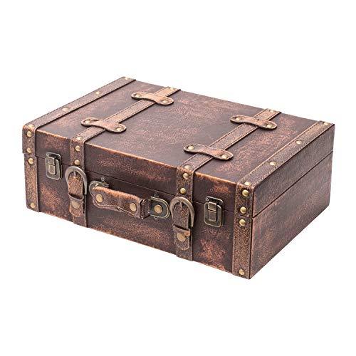 HMF VKO103 Vintage Koffer aus Holz | 38 x 26 x 13 cm | Groß | Deko Klassik