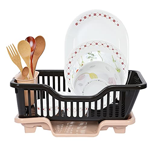 Cutting EDGE Durable Kitchen Sink Dish Rack Drainer Drying Rack Washing Basket with Tray for...