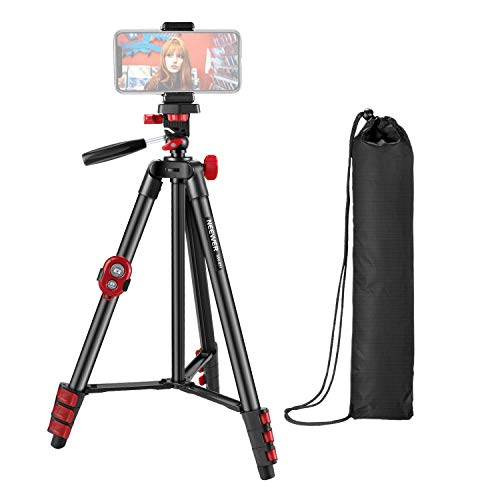 Neewer Phone Tripod, Cell Phone Tripod 54 inch Travel Tripod Stand with Remote, Cellphone Mount Holder and 3-Way Pan Head Compatible with Camera/GoPro/Android/iPhone 11/Xs/Xr/Xs Max/X/8/Galaxy Note 9