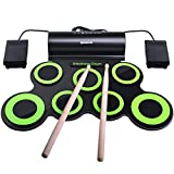 Electronic Drum Set, BONROB Drum Pad Foldable Roll Up Drum Kit Compatible with Roland Games Built in Speaker With Drum Sticks, 7 Drum Pads With Headphone Jack For Kids Christmas Birthday Gift