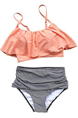 Fabric: Chinlon,Elastane Design:Falbala,High-waisted fit and High leg cut About Cup Style:With padding bra Garment Care:Hand Wash and Hang Dry. Recommend with Cold Water. Do not Use Bleach. Body size: the size of a human body.Bra size (XS: 30C/30D/32...