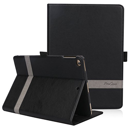 ProCase iPad 9.7 2018/2017, iPad Air 2, iPad Air Case - Leather Stand Folio Cover Case with Multi-Angle Viewing for Apple iPad 9.7 inch, Also Fit iPad Air 2 / iPad Air -Black
