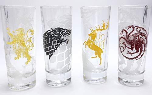 Juego de tronos juego de 4 vasos Stark Targaryen Lannister Baratheon Cresta Shot Glasses 10cl