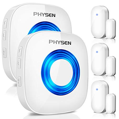 PHYSEN Wireless Door Chime Window Alarm CW-3TW Door Alarm Sensor Door Alert Kit with 600 FT Range, 5 Volume Levels with Mute Mode, 58 Melodies, Bright LED Indicator,3 Door Sensor+2 Plug-in Receiver