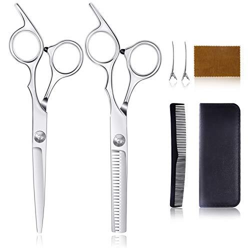 Haarschere Set, Profi Haarschneideschere, Scharfe Friseurscheren mit Ledertasche - Länge 6,0 Zoll, Perfekte Friseurschere für Männer und Frauen