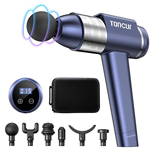 Massage Gun Deep Tissue, Toncur Muscle Massager Ultra-Quiet 38dB with 30 Speeds,3200RPM, 105° Handheld 6 Massage Heads, for Athletes,Gym, Office Sedentary Pain Relief