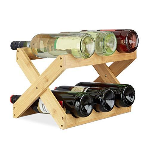 Relaxdays X-Shape Porta Vino Bamb a Forma di X 6 Bottiglie Stile Rustico Cantinetta Pieghevole HLP...