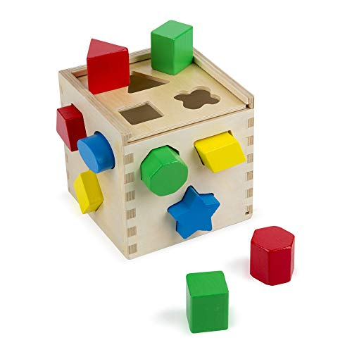 Melissa & Doug Shape Sorting Cube Classic Wooden Kids Toy – The Original (Sturdy Wooden Construct…