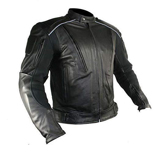 Xelement B9119 'Frenzy' Men's Black Armored Leather Motorcycle Jacket - 3X-Large