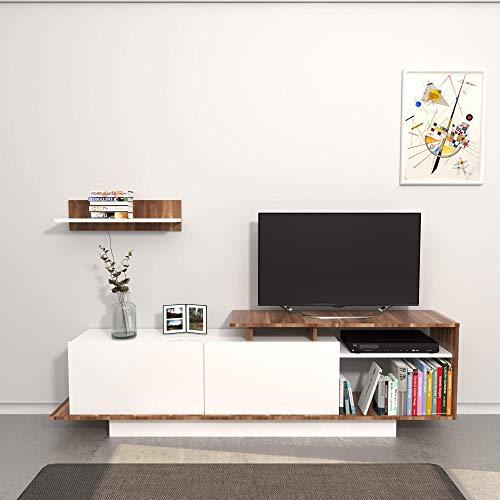 Homemania Martin Porta TV, Legno, Bianco (Bianco/Marrone), 183 x 36 x 11 cm
