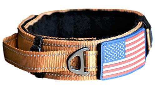 """Diezel Pet Products Dog Collar with Control Handle Quick Release Metal Buckle Heavy Duty Military Style 2"""" Width Nylon with USA Flag for Handling and Training Large Canine K9 (729C-TANTAC)"""