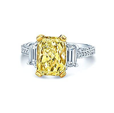 Beautiful Fancy Yellow Diamond Engagement Ring Set in Platinum & 18K Yellow Gold. Metal Weight: 11.1 Grams. Diamond Carat Total Weight (ct. t.w.): 5. Clarity: (SI1) Slightly Included 1. Color: Light (T). Makes The Perfect Gift For An Engagement, Wedd...