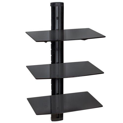 TecTake Supporto con fissaggio a parete per lettori DVD e ricevitori - modelli differenti - (3...