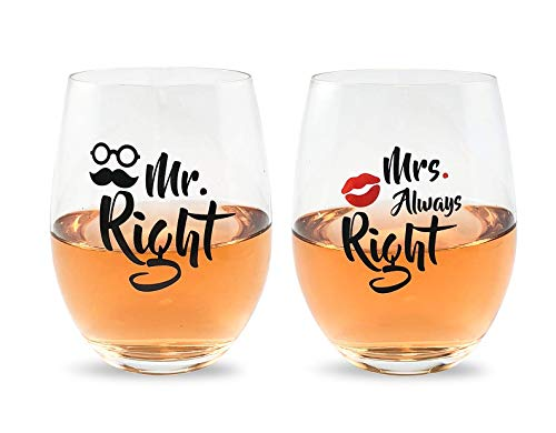 Mr Right and Mrs Always Right Wine Glasses Gift Set For...