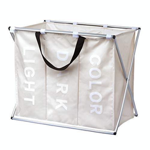 Minuma® Wäschekorb Wäschesortierer leicht und faltbar mit Tragegriffen 111 Liter Fassungsvermögen   3 Fächer zum bequemen vorsortieren Heller, dunkler und Farbiger Wäsche   63 x 55 x 40 cm in Creme